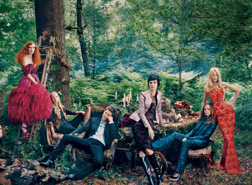 Vogue 120, Karen Elson, Sarah Burton, Christopher Bailey, Stella Tennant, Stella McCartney, and Claudia Schiffer by Norman Jean Roy / Vogue US September 2012