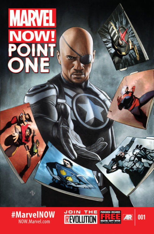 estelofimladris:  Marvel NOW: Point One Featuring: Nick Fury, Jr., Miss America (America Chavez), Wiccan (Billy Kaplan), Kid Loki, Star-Lord (Peter Quill?), Cable (Nathan Summers), Ant-man (Scott Lang?), and Nova (Sam Alexander?)  YESSSS