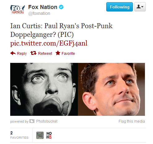 Ian Curtis joins the ranks of celebrities Fox is comparing Paul Ryan to, as they fawn over Mitt's VP pick to no end.