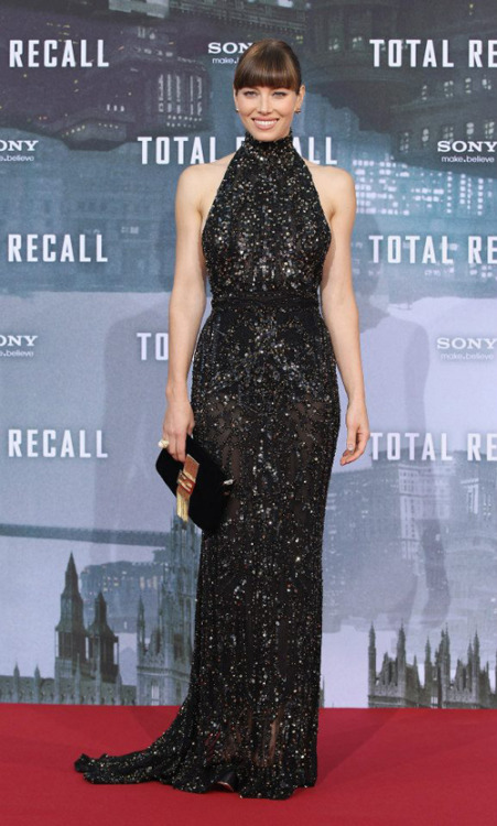 Red Carpet Fashion Jessica Biel sparkles in a Elie Saab dress, Ferragamo shoes, and Fendi bag to the 'Total Recall' Berlin premiere.