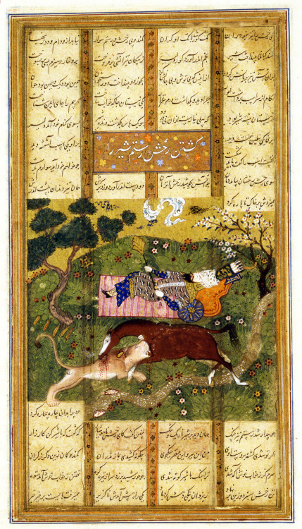 "A miniature from a copy of Ferdawsi's Shahnameh. ""Rakhsh Kills an Attacking Lion While Rustam Sleeps"" 1460-1480"