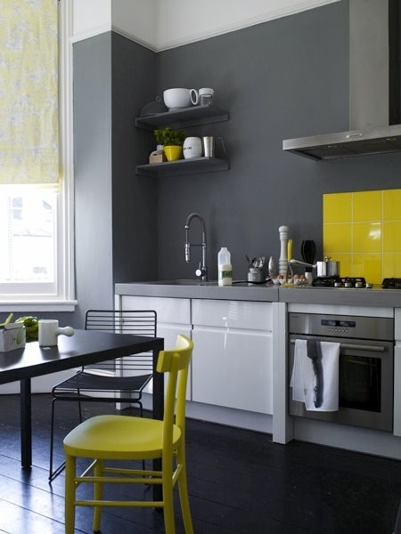 myidealhome:  gray + yellow (via Unconventional Paint)  yeah this totally rules.