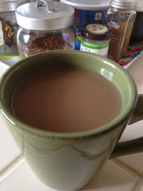 A yummy mug of hot coffee; it may have been instant but it did the trick and still satisfied - Enjoyed this morning before breakfast.