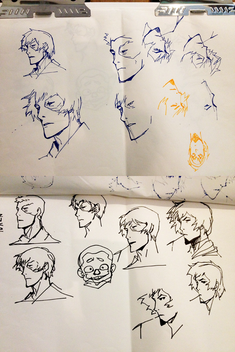 I stopped by Ryu Ki Hyun's office to say hi and saw these cool head studies that he had done on a drawing pad. He told me these were from last year's Comic Con, before the signing. His wife told him he better practice. HA! In the end they told us to stop including drawings at the signing because it was taking too long, which always makes us sad. Anyway, these drawings make me happy.