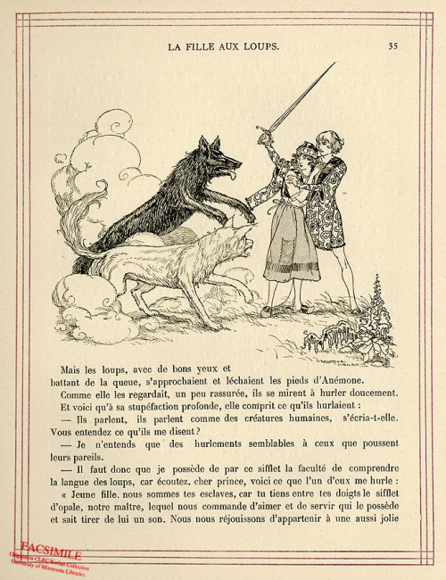 A page from Contes Mauves de la Mere-Grand, by Charles Robert-Dumas. Hey now, is he defending her or using her as a shield?