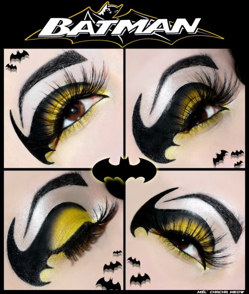 sugarpillcosmetics:  We are SO impressed by this amazing Batman inspired eye by Mel Chacha using Sugarpill Buttercupcake and Bulletproof. Wow!