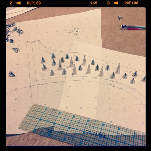Layout for studded shoulders❕✂💡#patternmaking#fashion#workroom#studio#Studs (Taken with Instagram at work.)