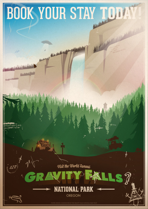 "jonnyevesonposters:  Gravity Falls National Park Poster I think this is the way I show appreciation for something, making a poster. I absolutely love Gravity Falls. I think Disney are taking a good step into making some decent cartoons with a bit of style. With such a solid visual style, a poster like this kind of designs itself. There are a few hidden easter eggs all over the poster, let me know which ones you can find :D You can purchase this poster from my store in A2 (23.4"" x 16.5"") in a limited run of 200. I also made a Facebook Page today for people to go and like, if you like. Like :) -Jonny  have y'all seen my friend Jonny's Gravity Falls poster yet?  It's so good!"