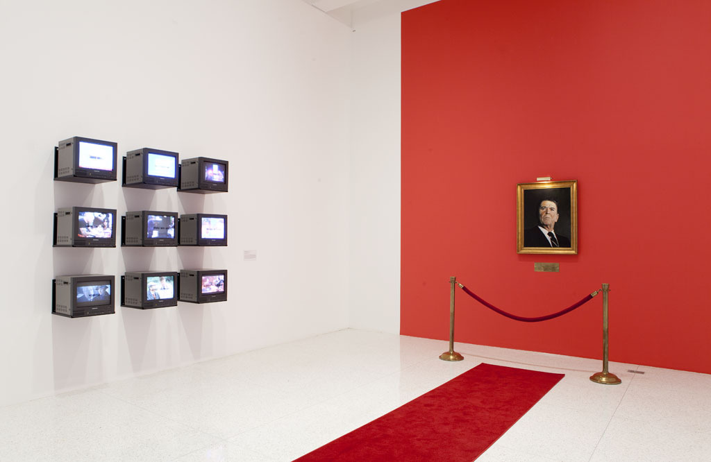 "Currently on view in Art, Love & Politics in the 1980s, Gretchen Bender's T.V. Text with Images consists of 9 televisions, with text by the artist, transmitting live feeds. Each day for the next nine days, we'll share a screengrab of one of the televisions. ""By manipulating a medium that is itself highly manipulative, Bender distances the viewer from expectations of pleasure and absorption, and instead provokes questions about the kind of information being generated in this relatively new public forum."" —MCA Chicago"