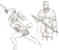 More Discretional Valor sketches. This time, Opal and Maximiliian Lothair. I used a ballerina pose as a reference for Opal. Graceful and deadly.