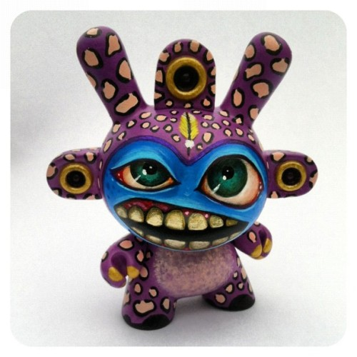 Chief Purple Leopard of the Yellow Feather Tribe. @kidrobot #dunny  (Taken with Instagram)