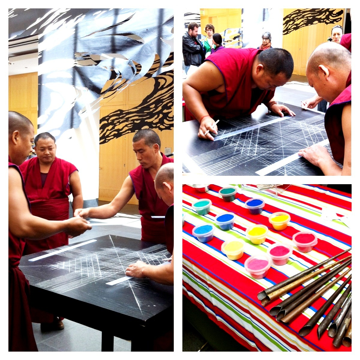 And we're live! The monks are here right now working on their Tibetan sand mandala. You can see the exquisite gridwork that they're laying down, the first step in creating a highly detailed mandala. Also pictured: colored sand and instruments. This is a very special opportunity to see the monks — from a monastery in South India — creating a mandala. They'll be working through Sunday. Upon completion the mandala will be destroyed, an important lesson of Buddhism (nothing is permanent).