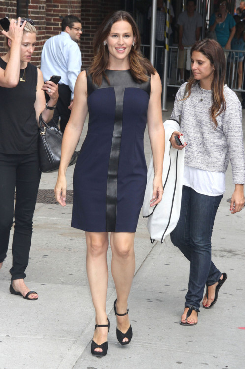 Jennifer Garner in YSL arriving for an appearance on the Late Show with David Letterman on August 14, 2012.