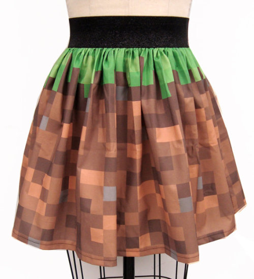 Pixel Landscape Skirt Be inspired by the pixel blocks of Fez, Minecraft and other classic arcade games that built the entire world for you to explore and conquer. Add a touch of the adventurous landscape to your wardrobe with this skirt by Go Chase Rabbits ($45.99).