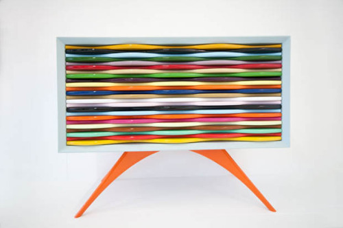Edna Cabinet by Anthony Hartley   A splash of color and a playful cabinet