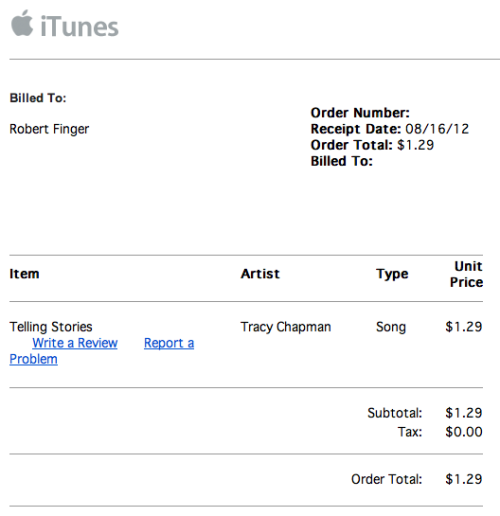 iTunes email receipts are essentially bullying.