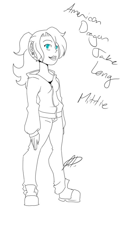 Could you draw yourself as if you were in American Dragon Jake Long? <:3c  - Cartoonanimegirl Wow, I haven't seen this show in yeaaars XD Tried going for the first season's style since I prefered it  more, but I couldn't find any good refs. Legs look a bit wonky Was lots of fun to draw x3