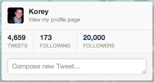 Thanks y'all. Can't believe I just hit 20k followers on Twitter!