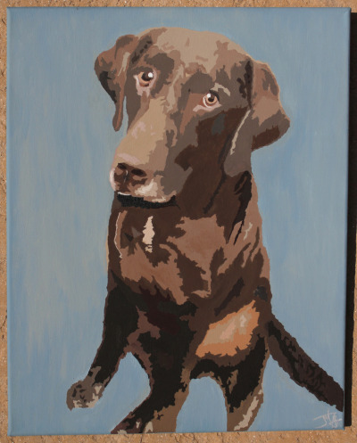 """Rocky"" // acrylic on 16x20"" canvasA commissioned chocolate lab! Currently winding its way through the mail to its owner. If you want a portrait like this of your pet (or relative, fictional character, fast food item, etc.), you know where to reach me."