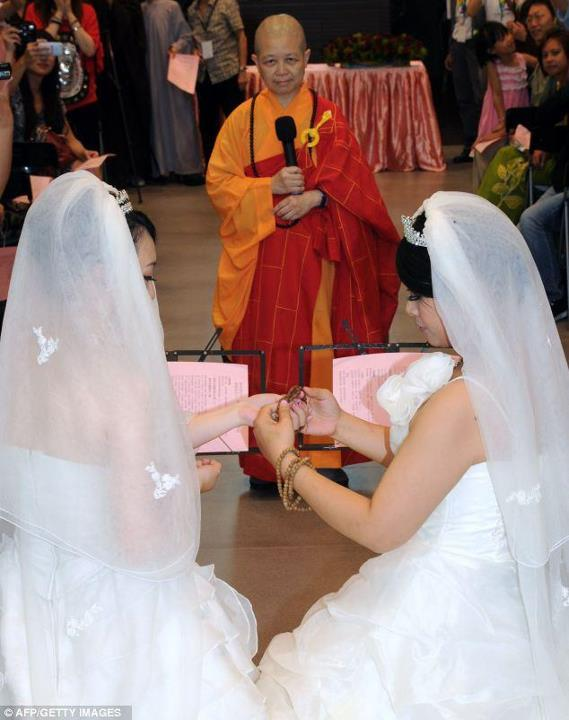 Two women became the first couple to have a Buddhist same-sex wedding in Taiwan. Fish Huang and You Ya-ting , who have been together for seven years, exchanged vows and prayer beads instead of rings at a monastery in Taoyuan, northern Taiwan, accompanied by chants from nearly 300 Buddhists.