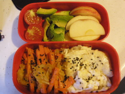 Scrambled egg white, carrot and potato kinpira, apple slices, diced avo, and a cherry tomato. With a lot of carrots in the fridge - I really wanted to think of other ways to prepare them other than eat them raw. Kinpira is a yummy way to stir-fry veggies. I cheated a bit with this recipe by using frozen shredded hashbrowns. Still came out sweet, spicy, & tasty!