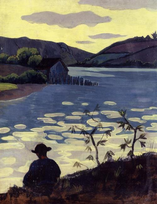 jculbert:   Paul Serusier - Fisherman on the Laita  Paul Sérusier (1864-1927) was a French painter who was a pioneer of abstract art and an inspiration for the avant-garde Nabi movement, Synthetism and Cloisonnism. Fisherman on the Laita, 1890. Oil on panel. 65.1 cm (25.63 in.), x 50.5 cm (19.88 in.). Private collection.