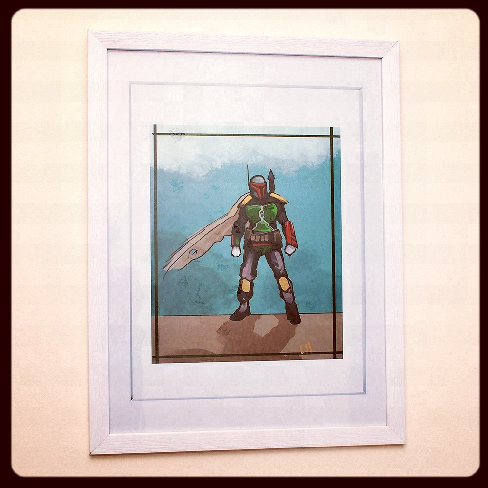 New piece of artwork for my home. Boba Fett by the talented Lurk. Check out his stuff on Society6.    (Taken with Instagram)