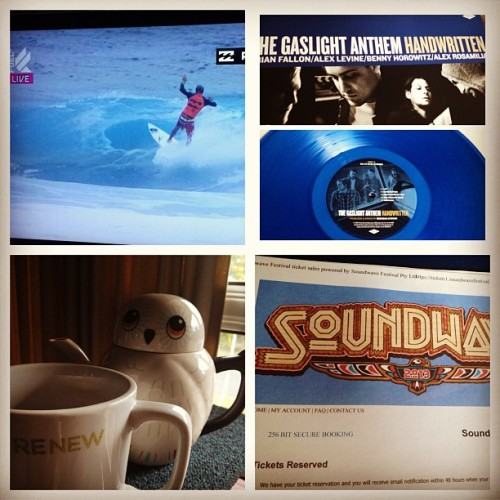 Highlights of my amazing morning. Soundwave Fest tix purchased, Billabong Pro live on Fuel TV, Earl Grey Tea, and a delivery from the postman: The Gaslight Anthem, Handwritten Blue Vinyl. #surf #music #tea #love  (Taken with Instagram)