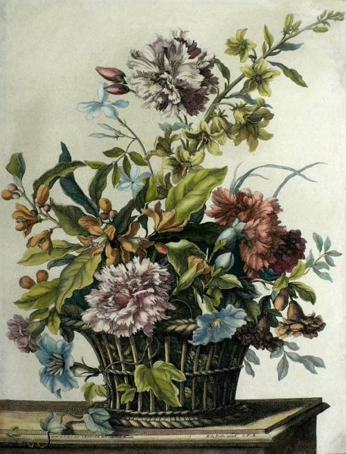 Bouquet of Flowers in a Wicker Basket, Jean-Baptiste Monnoyer (1680).