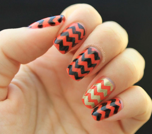 overpolished:  Chevron nails with Essie Camera see my blog for more info