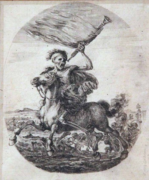 altarvisceral:  Death on Horseback Holding a Trumpet and A Flag (Stefano della Bella)