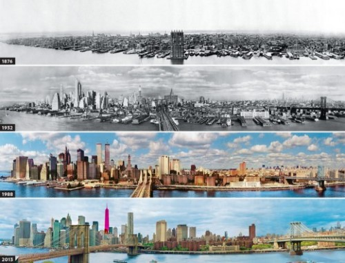 explore-blog:  The evolution of NYC's skyline, 1876-2013. Also see the evolution of NYC's famous street grid.
