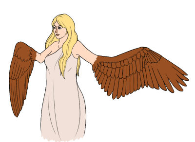 30 Day Monster Girl Challenge Day 1: Harpy  Not a big harpy fan but this was pretty fun. I don't think I've drawn wings since like my really bad middle school OCs so I apologize….and I had no clue how to go about where it should connect with her arm and I just…I don't know. But here you go.