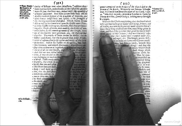 Employee's hand. From p. 353-53 of The Antipathie of the English Lordly Prelacie, Both to Regall Monarchy and Civil Unity by William Prynne (1641). Original from the New York Public Library. Digitized November 22, 2005.