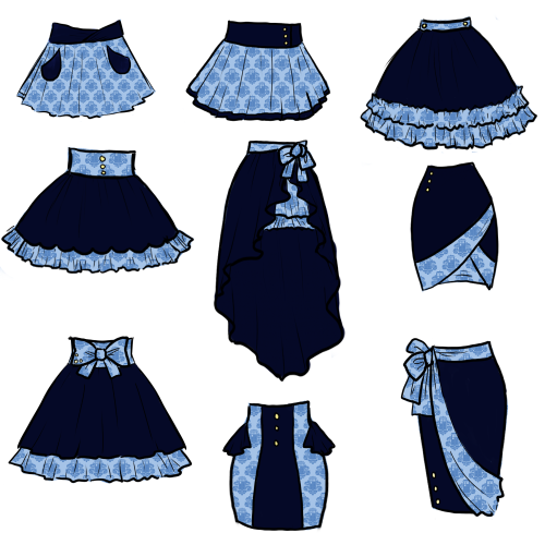 ladylawga:  9 different skirts using the TARDamask fabric.