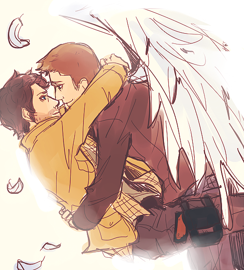 brakes:   superblyjinn answered: role swap dean is the angel and cas is the huntercousinnick answered: Angel Dean and hunter Cas?  Cas thanking Dean for raising him from perdition