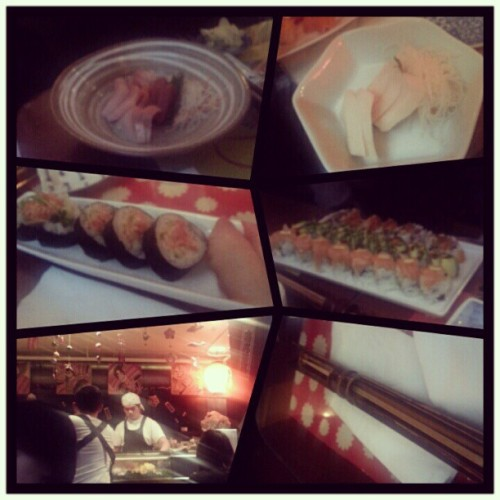 First meal… #sushi ! Hehe #sashimi #rolls buttermilk?#fish   (Taken with Instagram at Sushi Time)
