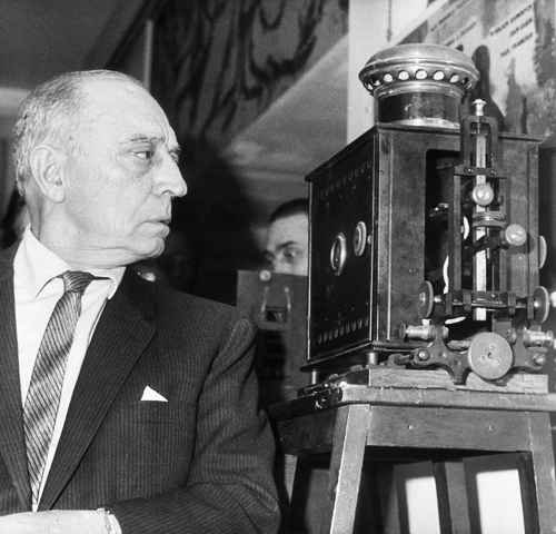 orsons:  Paris, February 1962: Buster Keaton examines the first film projector made by the Lumière brothers at the Cinémathèque Française