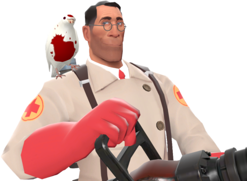marciantobay:  Medic with his pet dove, Archimedes.