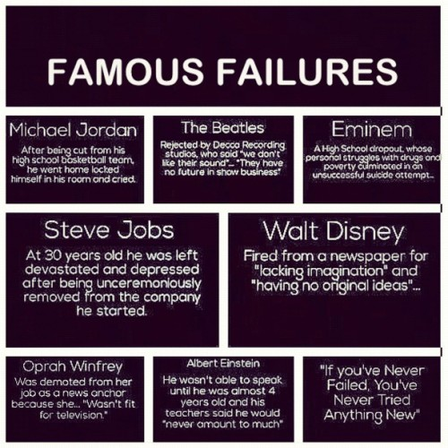 shinepreciousstar:  Inspiring ♡ #famous #failures #einstein #jordan #eminem #stevejobs #beatles #oprah #waltdisney (Taken with Instagram)