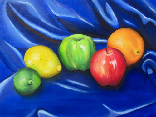 Couple still life paintings I did over this year. The fruits were painted in oil, and the pony + rolls of tape in acrylic. Much rather paint with oils than acrylics to be honest, paint dries to quickly for there to be a smooth integration of colors.