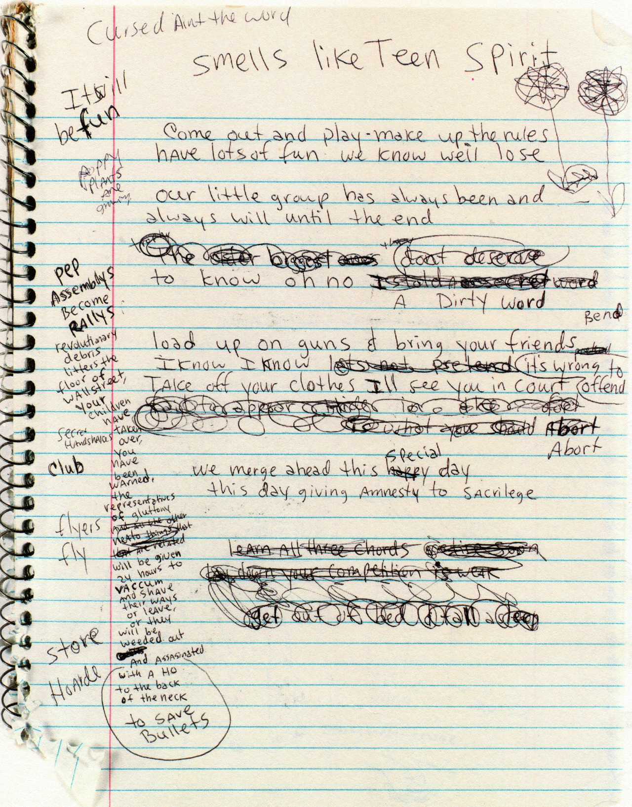 "detention:  virgins-suicide:  pumpkinlover:  Kurt Cobain's early draft of ""Smells Like Teen Spirit."
