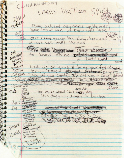 "detention:  virgins-suicide:  pumpkinlover:  Kurt Cobain's early draft of ""Smells Like Teen Spirit.""  soft grunge  perfect"