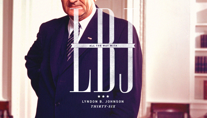 "Thirty-Sixth President: Lyndon B. Johnson (1963-1969) His election slogan was ""All the way with LBJ"". As seen here.  ""I am concerned about the whole man. I am concerned about what the people, using their government as an instrument and a tool, can do toward building the whole man, which will mean a better society and a better world."""