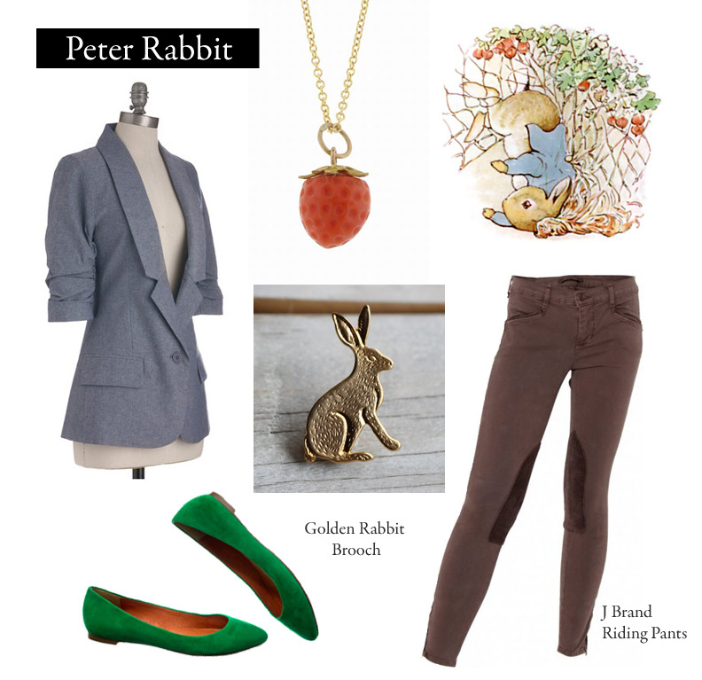 "Outfit inspired by Beatrix Potter's Peter Rabbit. ""Peter was most dreadfully frightened; he rushed all over the garden, for he had forgotten the way back to the gate. He lost one of his shoes among the cabbages, and the other shoe amongst the potatoes."" Gold Rabbit Brooch 
