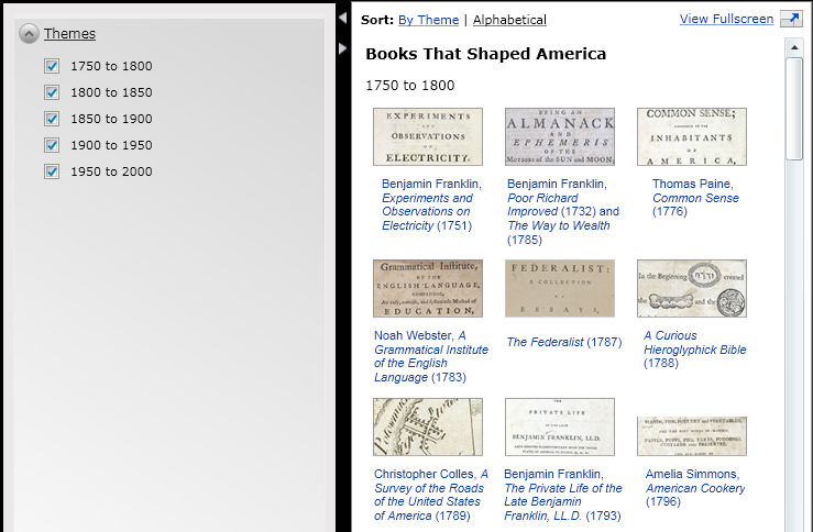 The Library of Congress presents: Books that Shaped America - You can navigate the exhibition items online, filtered by time period. I just had to screenshot 1750 - 1800; I mean look at them,  BEN FRANKLIN (my favorite), THE FEDERALIST PAPERS.