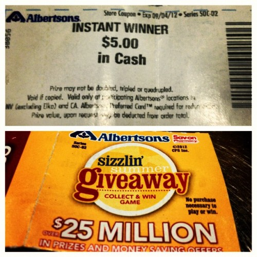Dude! Wtf?! Shit is legit! 😊#albertsons #winner #prize (Taken with Instagram)