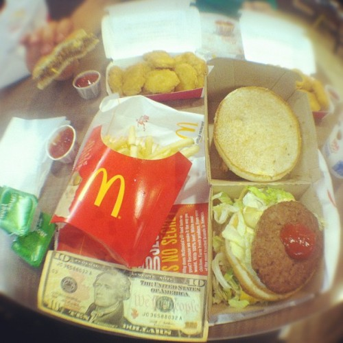 $10 & a McDonald's Big Mac meal, fries and mcnuggets #moneyfood http://moneyfood.tumblr.com #mcdonalds (Taken with Instagram)
