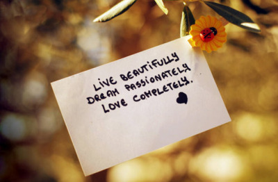 Live beautifully,Dream passionately,Love completely.