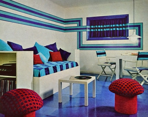 Living room design from Better Homes and Gardens, early 1970s.